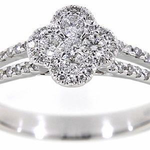 Diamond 14K White Gold Floral Fine Ring